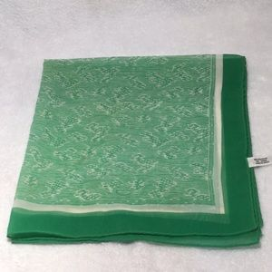 Vintage green & white scarf with abstract pattern.